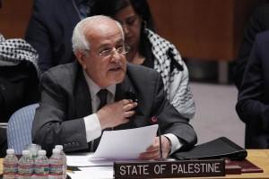El representante de Palestina, Embajador Riyad Mansour, durante la sesión del Consejo de Seguridad. Foto extraída de artículo de prensa.