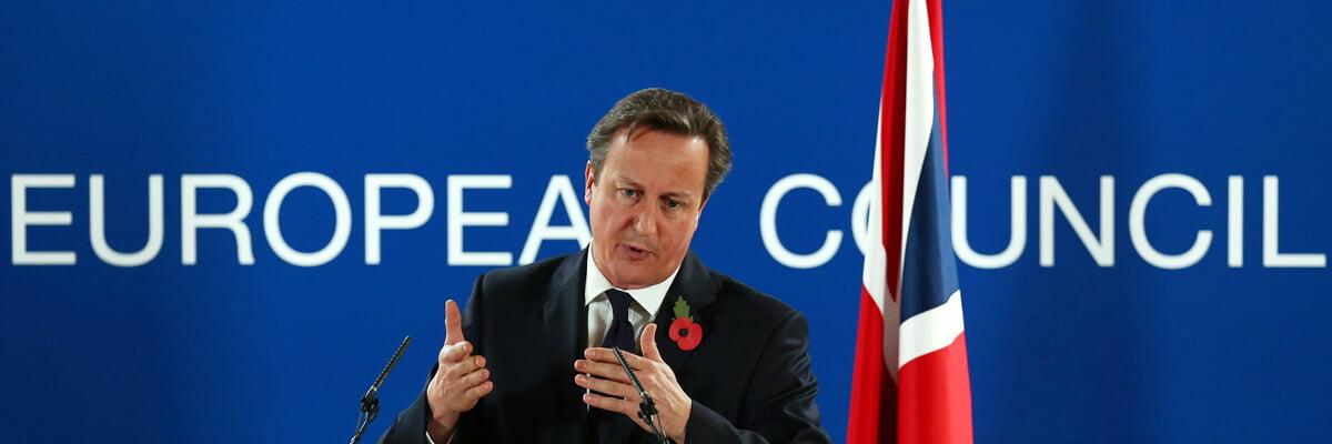 El primer ministro británico, David Cameron, en una rueda de prensa en Bruselas, octubre 2014.