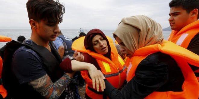 Refugiados rescatados en la isla griega de Lesbos.