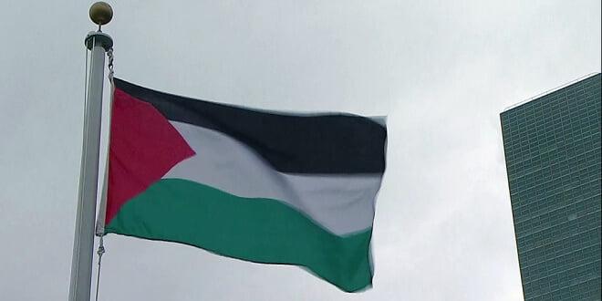 La bandera del Estado Palestino en la ONU. Foto: Captura de video UNTV