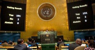 La Asamblea General aprueba resolución que solicita el fin del bloqueo de Estados Unidos contra Cuba. La votación fue de 191 votos a favor y 2 en contra (Estados Unidos e Israel). 27 de octubre de 2015. Foto ONU/ Cia Pak