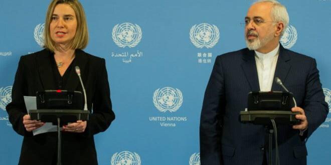 La jefa de la diplomacia europea; Federica Mogherini, y el canciller de Irán, Javad Zarif, anunciaron el levantamiento de las sanciones.