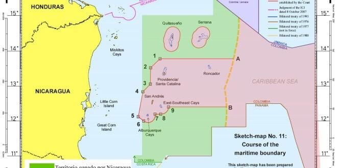Figura de las zonas otorgadas a Nicaragua y a Colombia en el Mar Caribe por parte de la CIJ en su fallo del 2012. Extraída de artículo de prensa publicado en Poder.cr