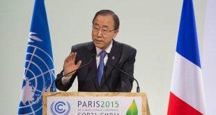 Ban Ki-moon se dirige a los participantes de la COP21 celebrada en París en diciembre pasado. Foto de archivo: ONU/Eskinder Debebe