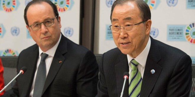 El Secretario General de la ONU, Ban Ki-moon, y el presidente de Francia, François Hollande, en una conferencia de prensa tras la ceremonia de firma del Acuerdo de París. Foto: ONU/Eskinder Debebe