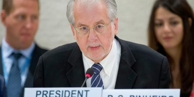 El Presidente de la Comisión Internacional Independiente de Investigación sobre la República Árabe Siria de la ONU, Oaulo Pinheiro. Foto ONU: Jean-Marc Ferré