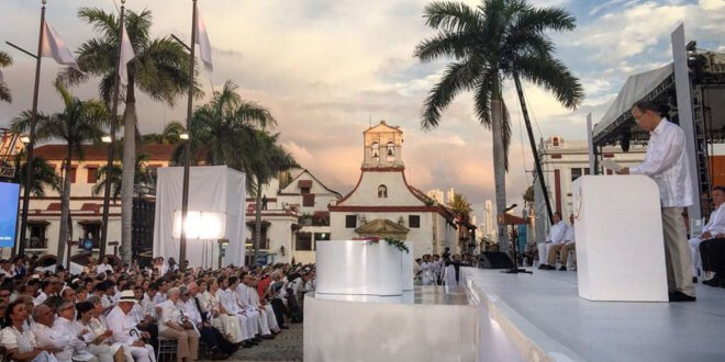 Ban Ki-moon en Cartagena, durante la ceremonia de la firma del Acuerdo de Paz para Colombia. Foto: OSSG