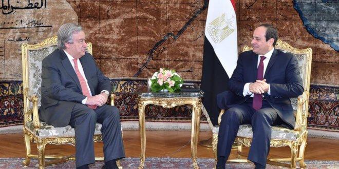 António Guterres, Secretario General de la ONU, y Abdel Fattah el-Sisi, presidente de Egipto, en El Cairo. Foto: Oficina de la Presidencia de Egipto