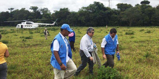 Los embajadores del Consejo de Seguridad de la ONU y el jefe de la Misión de Naciones Unidas en Colombia visitan una zona veredal de transición y normalización en el departamento del Meta. Foto: Misión de la ONU en Colombia
