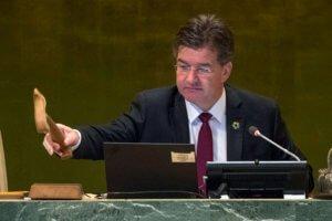 El presidente de la Asamblea General, Miroslav Lajcak, cierra el debate general. Foto: ONU / Cia Pak