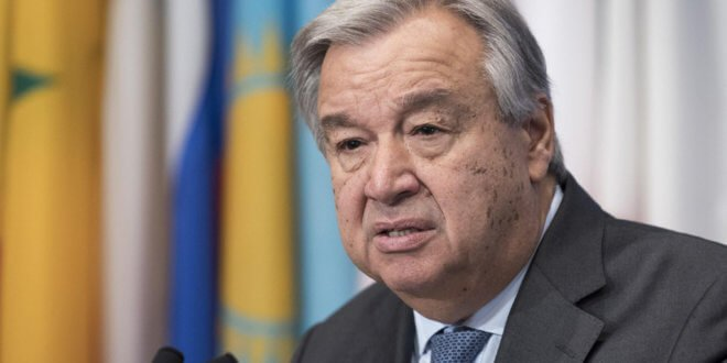 ONU/Mark Garten António Guterres, Secretario General de la ONU, se dirige a la prensa en Nueva York.