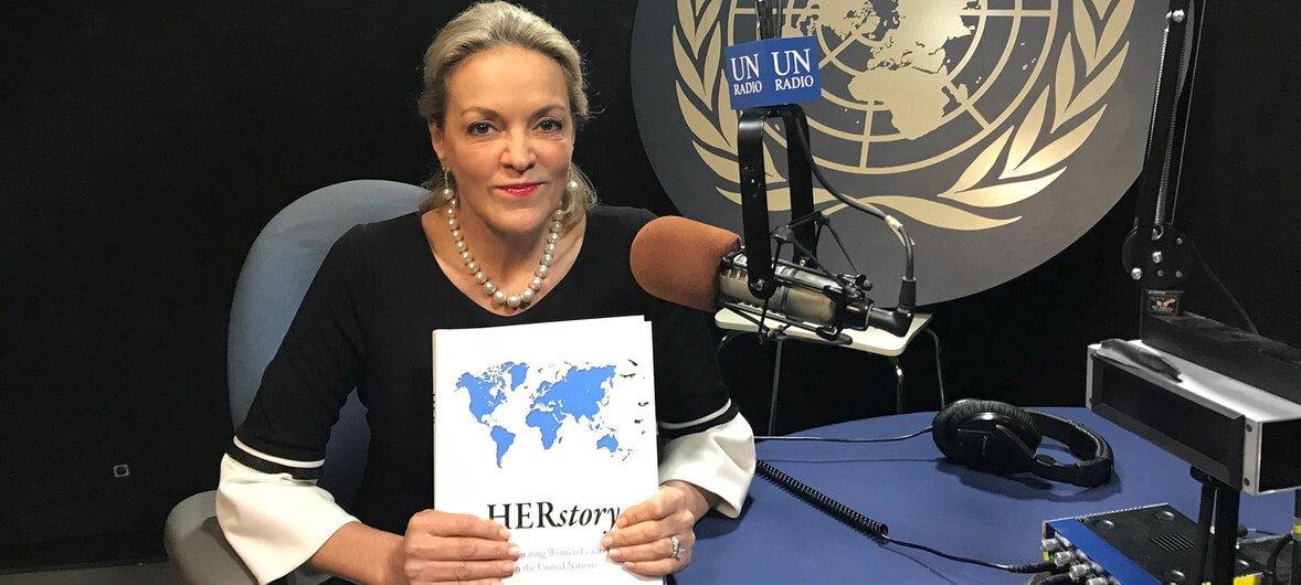 ONU/Laura Quinones Maria Emma Mejía, Representante Permanente de Colombia ante las Naciones Unidas, presentando HERstory.