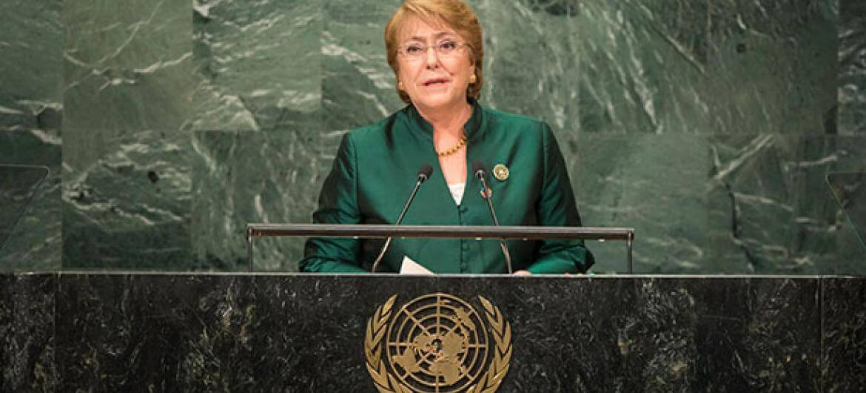 ONU La expresidente de Chile, Michelle Bachelet, durante el discurso pronunciado en el debate anual de la Asamblea General en 2017.