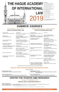 Hague Academy of International Law 2019 Summer Program