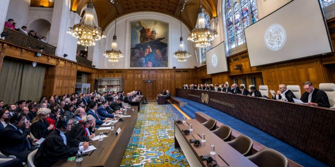 ICJ-CIJ/Frank van Beek Panorámica de la Corte Internacional de Justicia durante la lectura del fallo en el caso de Bolivia vs. Chile, el 1 de octubre de 2018, en el Palacio de la Paz de La Haya