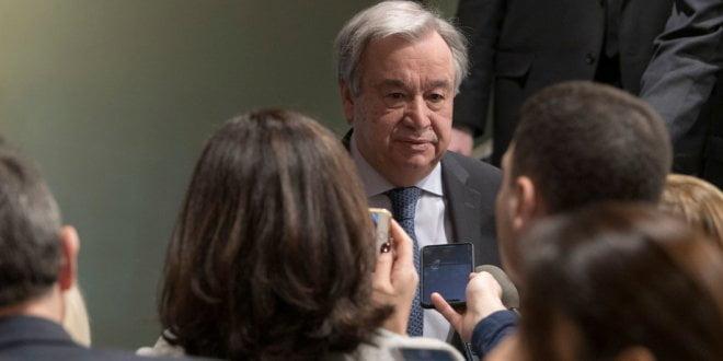 ONU/Mark Garten El Secretario General António Guterres se dirige a la prensa en la sede de las Naciones Unidas en Nueva York.