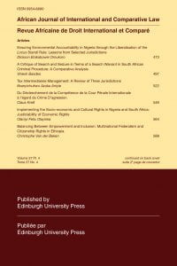 African Journal of International and Comparative Law - Volume 27, Issue 4, November, 2019