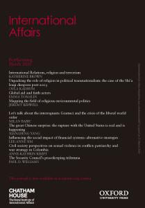 International Affairs - Volume 96, Issue 2, March 2020
