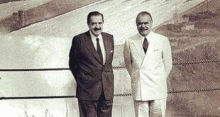 """Los Presidentes Raúl Alfonsín y José Sarney firman la """"Declaración de Iguazú"""" 30 noviembre 1985"""