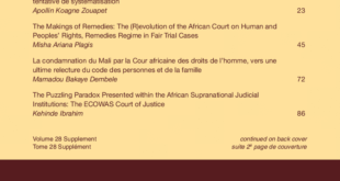 African Journal of International and Comparative Law – Volume 28, Issue Supplement, November, 2020