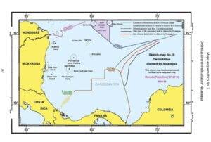Mapa esquemático No. 2: Delimitación reivindicada por Nicaragua.