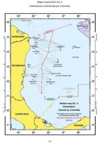 Mapa esquemático No. 3: Delimitación reivindicada por Colombia.