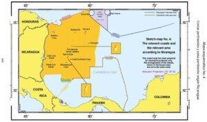 Mapa esquemático No. 4: Costas pertinentes y zona pertinente según Nicaragua.