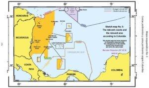 Mapa esquemático No. 5: Costas pertinentes y zona pertinente según Colombia.