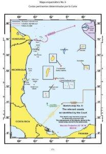 Mapa esquemático No. 6: Costas pertinentes determinadas por la Corte.