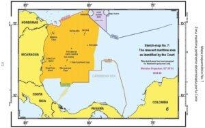 Mapa esquemático No. 7: Zona marítima pertinente determinada por la Corte.