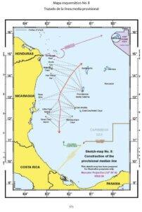 Mapa esquemático No. 8: Trazado de la línea media provisional.