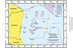 Mapa esquemático No. 11: Curso de la frontera marítima.