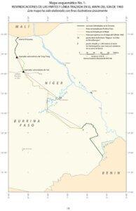 —Mapa esquemático No. 1: Reivindicaciones de las partes y línea trazada en el mapa del IGN de 1960