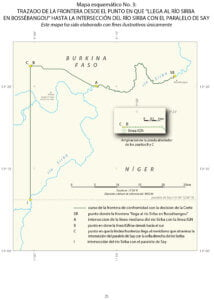 """—Mapa esquemático No. 3: Trazado de la frontera desde el punto en que """"llega al río Sirba en Bossébangou"""" hasta la intersección del río Sirba con el paralelo de Say"""