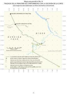 —Mapa esquemático No. 4: Trazado de la frontera de conformidad con la decisión de la Corte