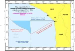 — Mapa esquemático No. 4: Trazado del límite marítimo