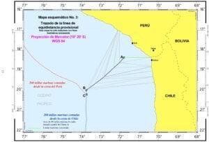 — Mapa esquemático No. 3: Trazado de la línea de equidistancia provisional