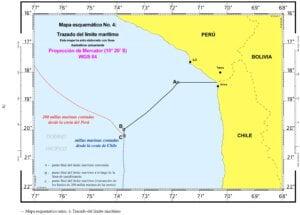 — Mapa esquemático No. 2: Líneas de los límites marítimos reclamados respectivamente por el Perú y Chile