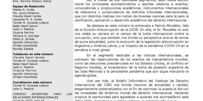 CARI - Boletín informativo del Instituto de Derecho Internacional - Año 11 – Número 30 – diciembre 2020