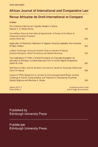 African Journal of International and Comparative Law - Volume 29, Issue 2, May, 2021